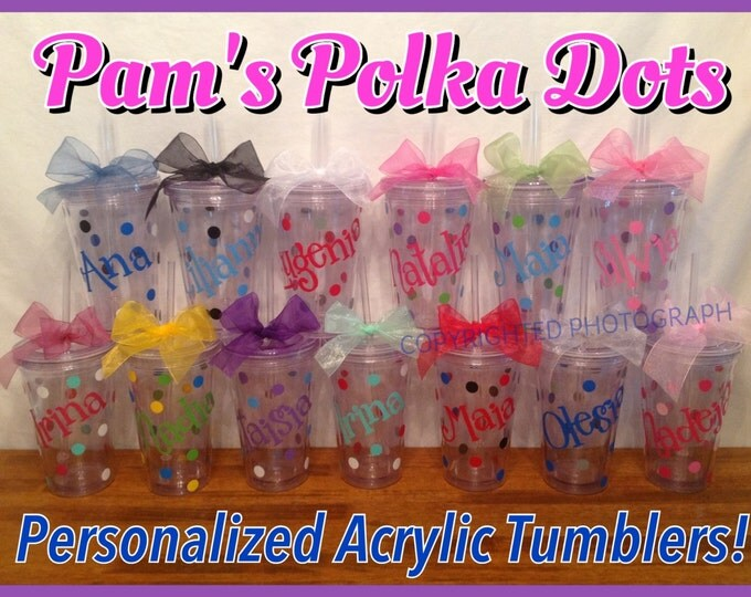 14 Personalized 16 oz. CLEAR INSULATED TUMBLERS with name, initial or monogram, polka dots, lid & straw