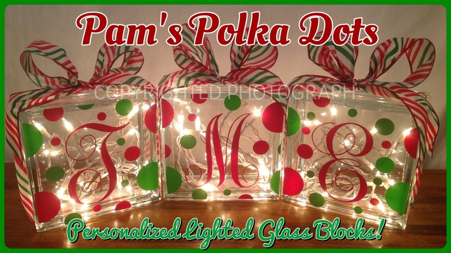 Personalized lighted christmas glass block with monogram