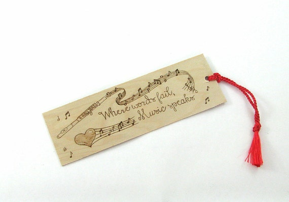 Music Quote Bookmark - Wood Pyrography - Flute Bookmark