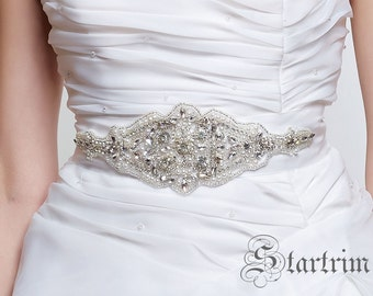 SALE CHLOE crystal wedding bridal sash belt, rhinestone belt sash , rhinestone & pearl