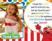 Elmo Thank You Card Photo Multi Colored Dots and Stripe Customizable Printable