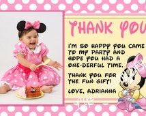 Baby Minnie Mouse Thank You Card Photo Option Customizable Printable