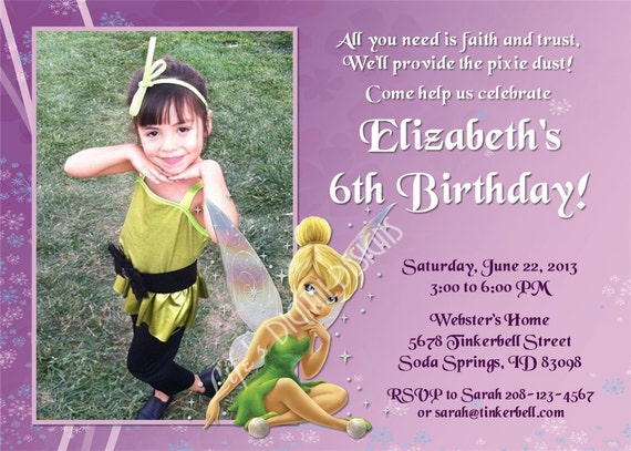 tinkerbell birthday invitations fairy birthday invitation photo, Birthday invitations