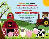Birthday Invitation -  Fun Barnyard Farm Birthday Party or Baby Shower Invitation with or without Photo - Digital Print