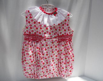 Size 2 Smocked Bubble Strawerries Cotton Print