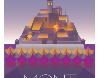 Mont St Michel - Large Digital print. 270 x 460 mm