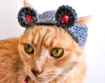 Mouse Costume for Cats - Hand Knit Cat Hat - Cat Halloween Costume