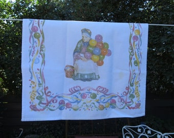 Vintage Kitchen Towel Old Balloon Lady Old Balloon Seller Royal Doulton