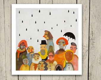 People Giclee Fine Art print 8x8 Illustration- Print SALE - Buy 2 Get 1 Free