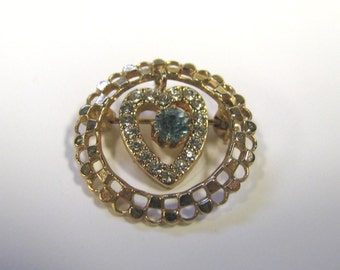 Vintage Aqua & Crystal Rhinestone Dangle Heart Brooch in Gold tone metal