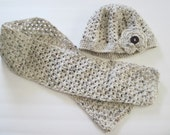 Crochet Hat and Scarf Set for Adult with crocheted flower   READY to SHIP