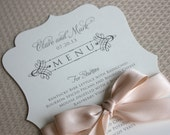 Wedding Menu Cards, Classic Style, CHOOSE COLORS, Wedding Invitation, Menu, Place Cards, Wedding Table Setting