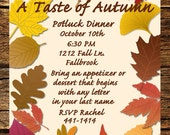 Potluck Dinner Invitation, Autumn Leaves, Fall Colors.
