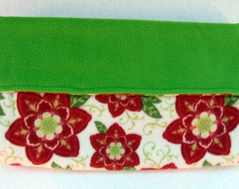 Christmas Dog or Cat Burrow Bag, Sleeping Bag, Snuggle Sack, Green, Red & Ivory Poinsettia Floral Print with Green Fleece Lining