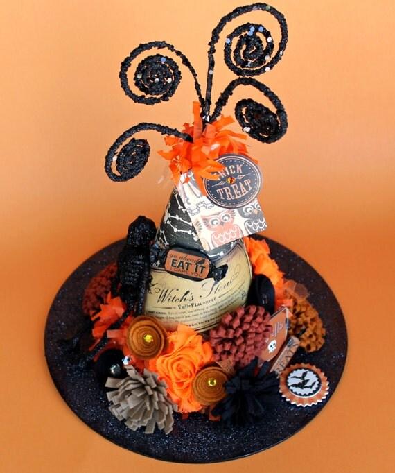 Halloween Decoration, Centerpiece/Handmade Witch's Hat /Witches Stew