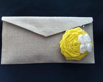Custom Burlap Clutch with single rosette with sheer butterfly embellishment