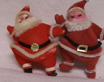 Retro Santa LOT of 3  Flocked Red Pair White Santa 3 Great Santas