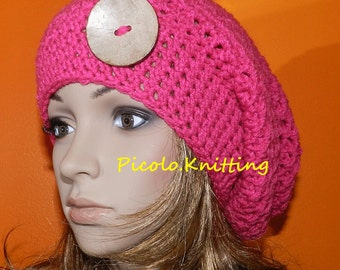SALE  !! Hand Crocheted Slouch Hat, Hipster Beanie, Hippie Cap, Light Chunky  Baggy in Pink with Coco Eco Button on Side
