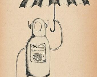 Umbrella Robot- A4 art print by Jon Turner- geeky pen and ink artwork- FREE WORLDWIDE SHIPPING