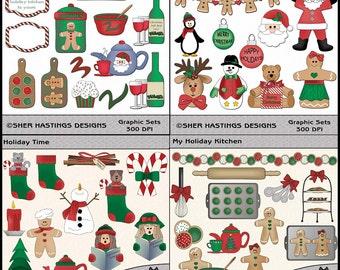 Christmas Clipart Bundle, Baking Clipart, Christmas Clipart, Christmas Bundle, Cooking Clipart - Digital Scrapbooking Kit