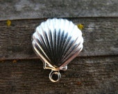 2 Sterling Silver Sea Shell Charm 10.5mm