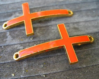 2 Orange Cross Connectors Gold Enamel Curved Cross 47mm