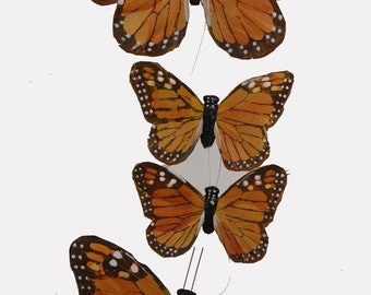 1 pc 58 Inch Monarch Garland, Feather Butterflies (BF7402) Halloween Decoration, Party Decoration