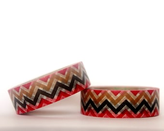 Red, Black, Brown Chevron Washi Tape