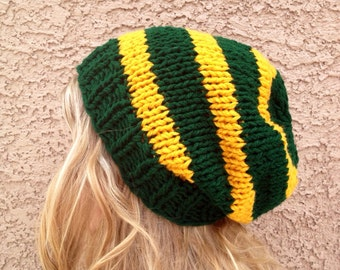 Dark Green and Gold Slouch Beanie for Men or Women Knit Striped Hat Green Bay Packers