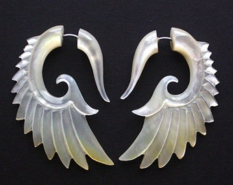 Shell Wing Earrings - Natural Mother of Pearl - Hand Carved Organic Fake Gauges - BRAVE