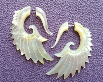 BRAVE Wing Earrings - Natural Mother of Pearl - Hand Carved Organic Fake Gauges