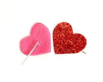 Glitter Heart Bobby Pin Pair