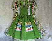15% Off Sale: Toddler's Dirndl/ Irish Spring Dress & Pinafore Apron, Size 1 year to 18 months old, Ready To Ship Now