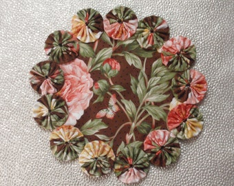 Peach, Brown, Yellow Floral with Butterfly Doily