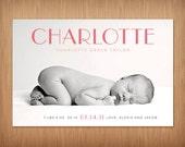 baby girl or boy custom photo birth announcement - elegance