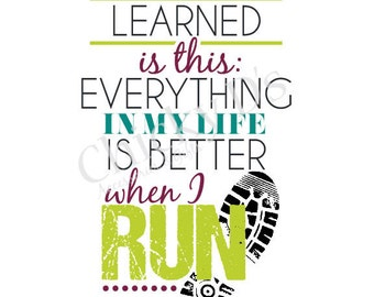 Runner Poster, Typography Art, Typographic Print, Inspirational Quote 8x10