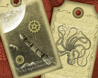 Victorian Steampunk Jules Verne - Kraken, Hot Air Balloons - Set of 6 - Digital Tags, Labels, Cards - Steampunk Printables, Downloads