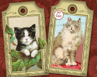 Victorian Cats - Set of 6 - Digital Tags, Labels, Cards - Shabby Chic Printables, Downloads
