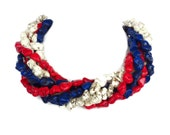 Multi Color RED WHITE and BLUE Turquoise Torsade  Necklace -  Patriotic Statement Necklace