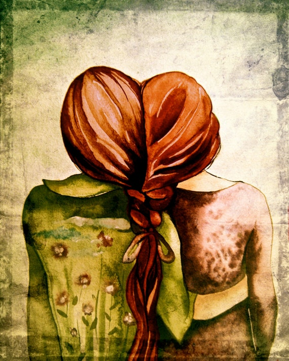 sisters ,best friends art print with red hair