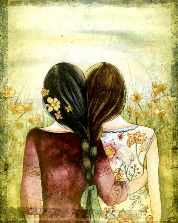 Art print sisters best friends  gift idea  with black and brown hair