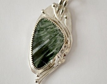 """Seraphinite pendant.  Sterling silver bezel set.  hand forged. """"Vine with me"""""""