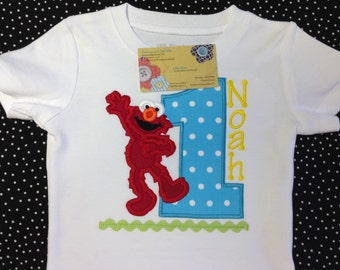 Elmo Birthday Shirt Appliqued and Personalized - You choose number