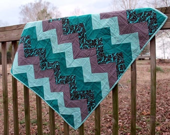 Chevron Quilted Blanket - Teal and Brown - SALE