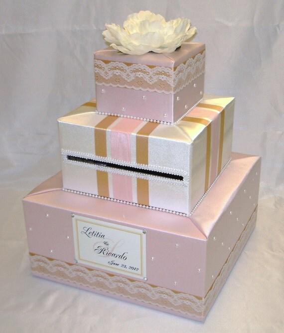Elegant Custom made Wedding Card Box-Pearl accents