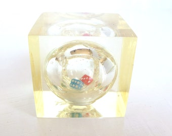 Vintage Lucite Cube Paperweight  Dice Red Blue in Sphere 70's (item 8)