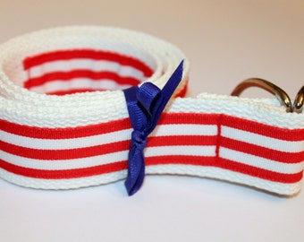 """Red and White Belt Striped Ribbon Belt Wide Preppy Belt 1.5"""" Belt Red Stripe D Ring Belt White Mens Belts Red Stripe Ladies Belt Preppy belt"""
