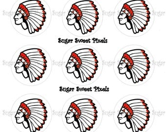 INSTANT DOWNLOAD Red School  Indian Chief Warrior 1inch Circle Bottlecap Images 4x6 sheet