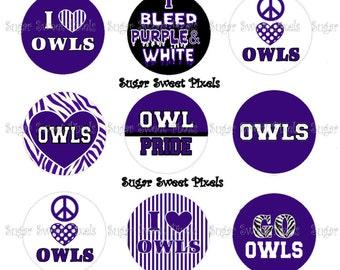 INSTANT DOWNLOAD Purple Owls School Mascot 1 inch circle Bottlecap Images