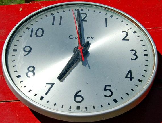 vintage simplex school clock industrial by blackeyedsusanshop